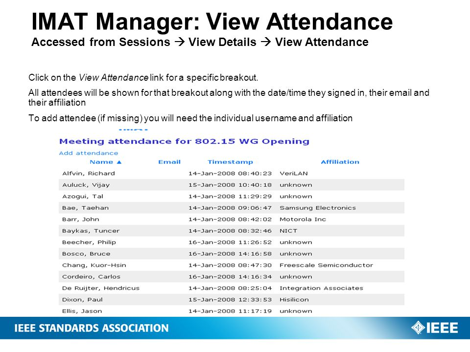 IMAT Manager: View Attendance Accessed from Sessions  View Details  View Attendance