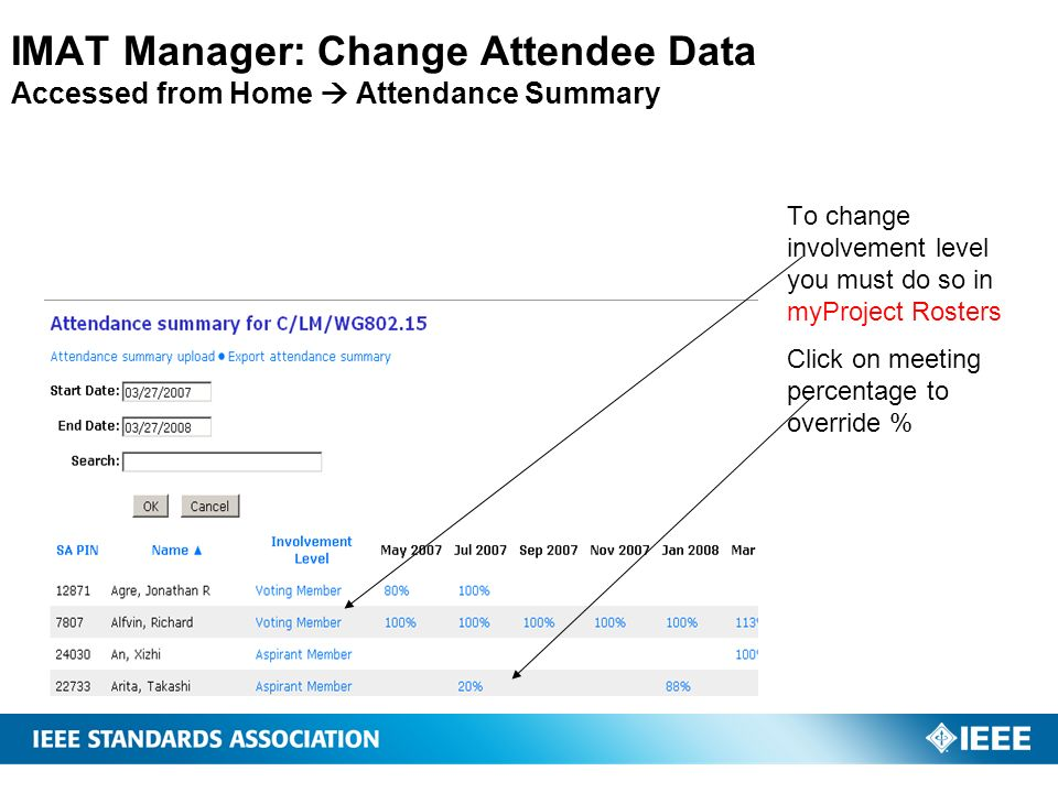 IMAT Manager: Change Attendee Data Accessed from Home  Attendance Summary