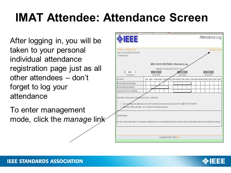IMAT Attendee: Attendance Screen
