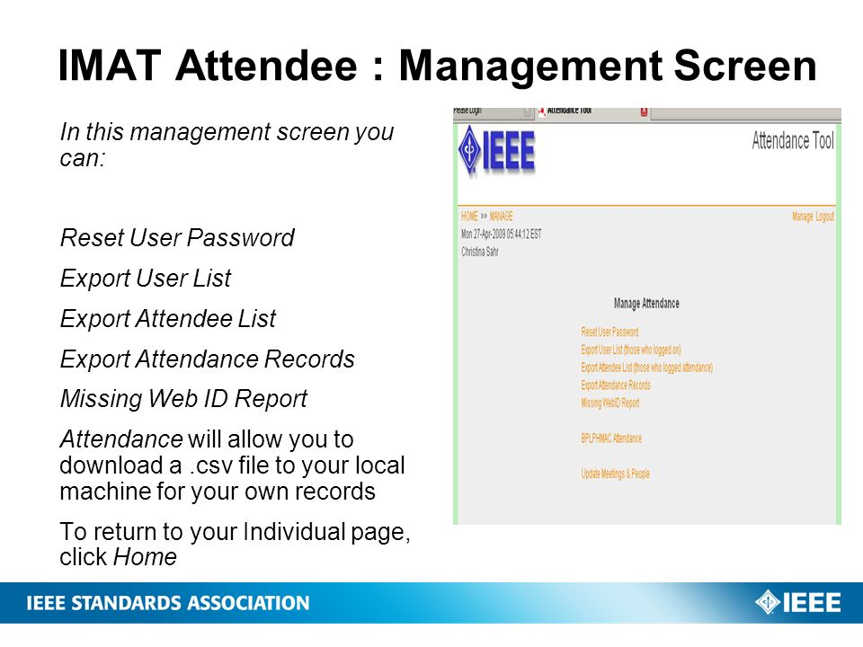 IMAT Attendee : Management Screen