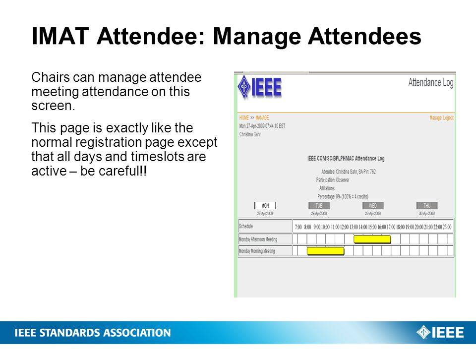 IMAT Attendee: Manage Attendees