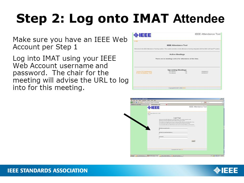 Step 2: Log onto IMAT Attendee