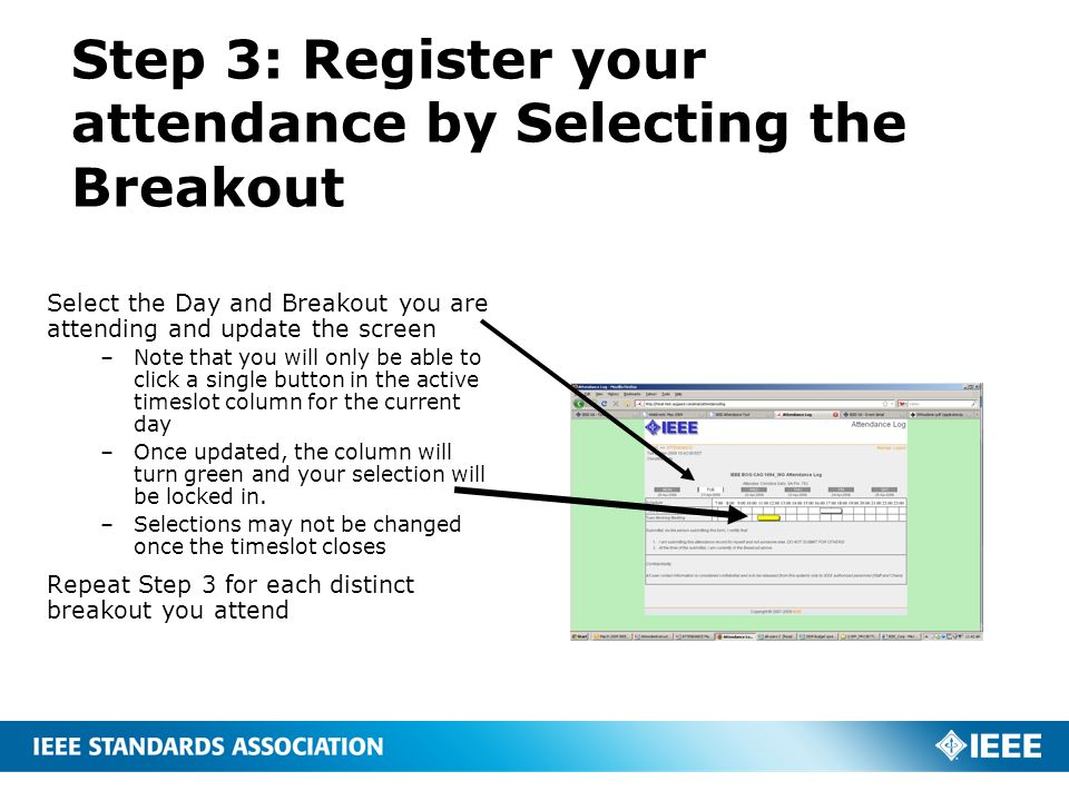 Step 3: Register your attendance by Selecting the Breakout