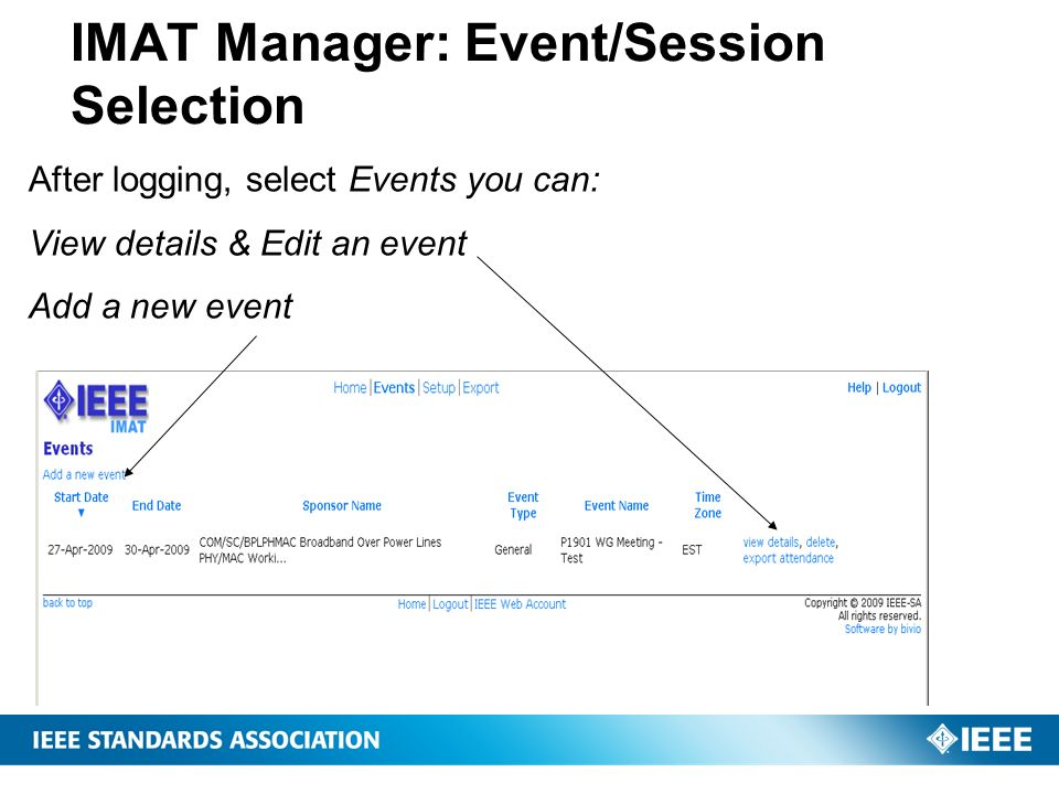 IMAT Manager: Event/Session Selection