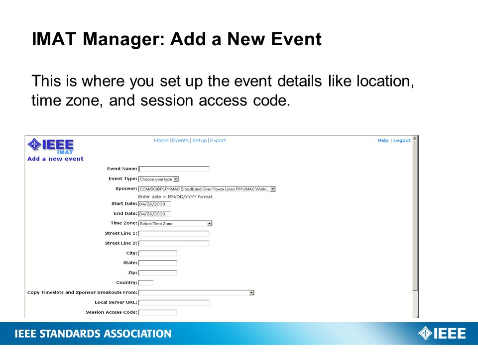 IMAT Manager: Add a New Event