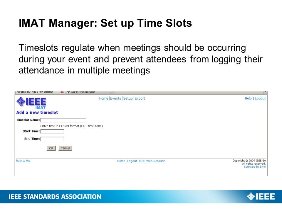 IMAT Manager: Set up Time Slots