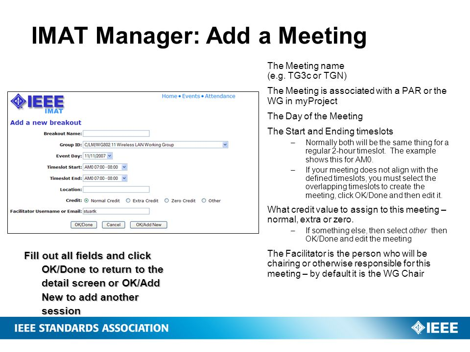 IMAT Manager: Add a Meeting