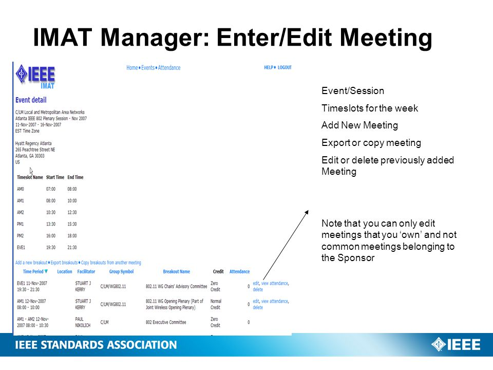IMAT Manager: Enter/Edit Meeting