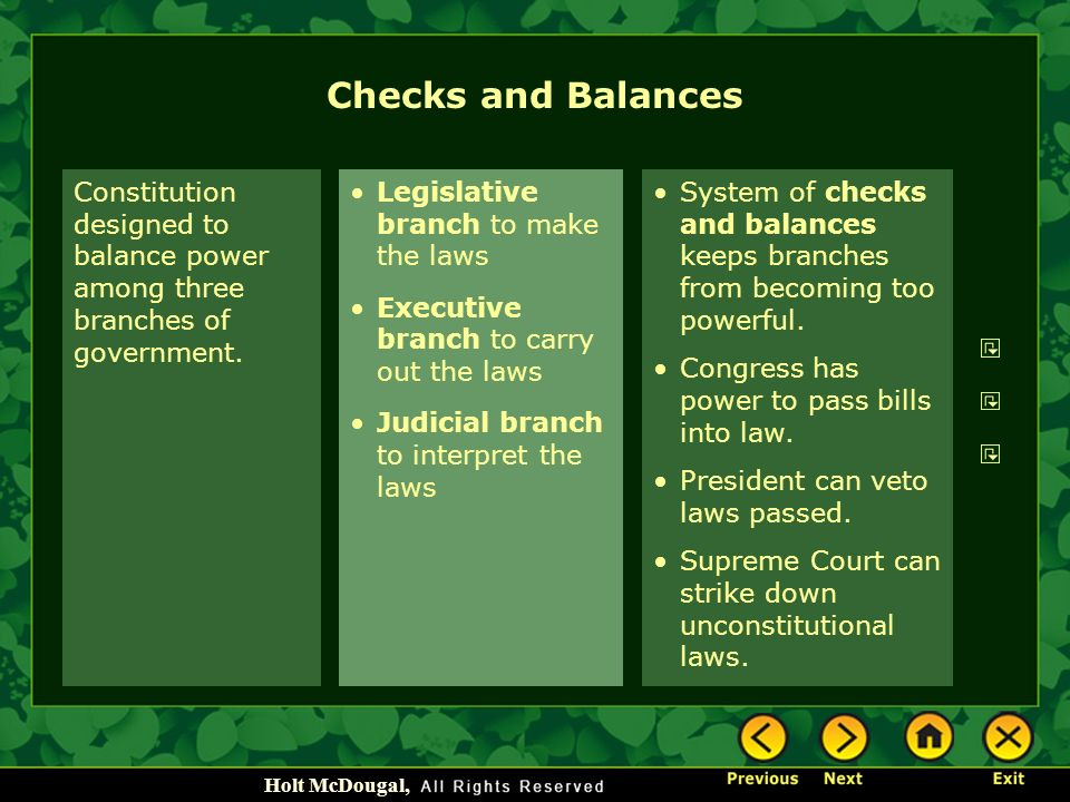 the checks and balances in the constitutional interpretation Checks and balances were set forth in the constitution to prevent any one branch from dominating the others the judicial branch has the final say only on issues involving constitutional interpretation the commerce clause of the us constitution authorizes.