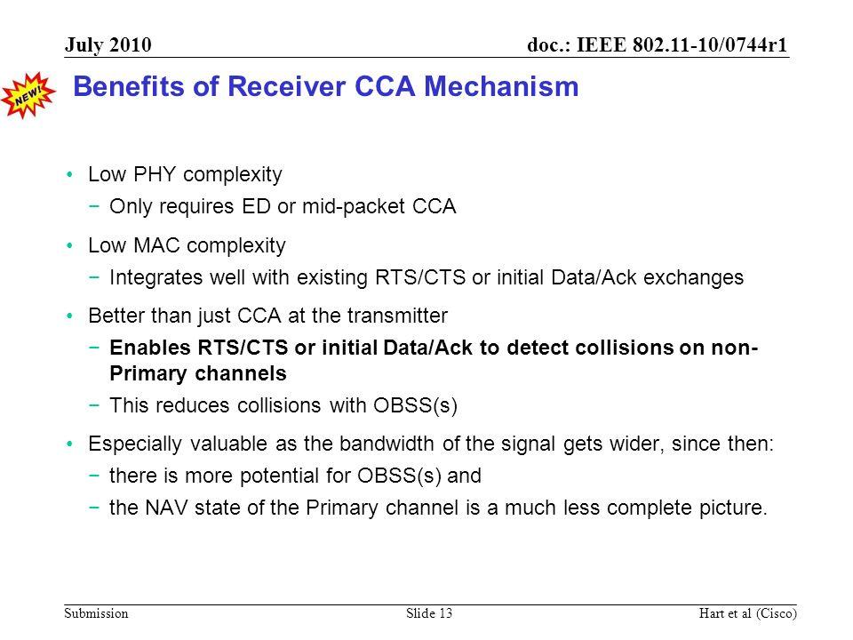 Benefits of Receiver CCA Mechanism