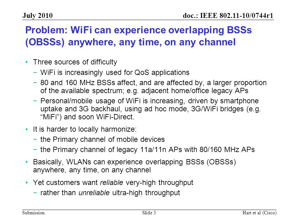 September 2006 doc.: IEEE 802.11-06/1458r0. July 2010. Problem: WiFi can experience overlapping BSSs (OBSSs) anywhere, any time, on any channel.