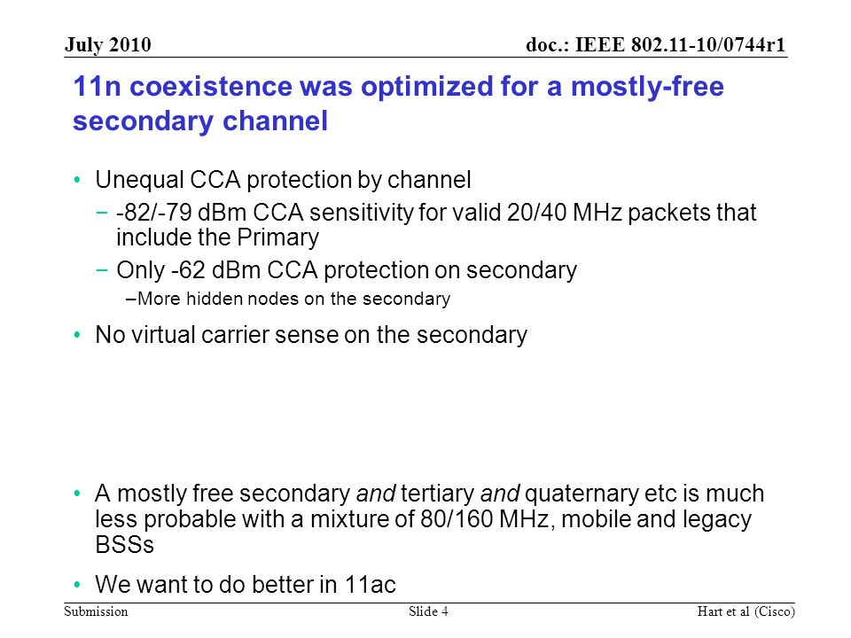 11n coexistence was optimized for a mostly-free secondary channel