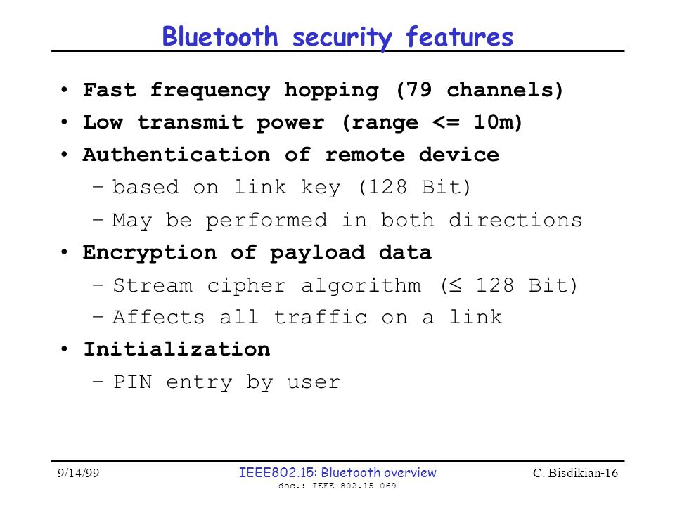 Bluetooth security features
