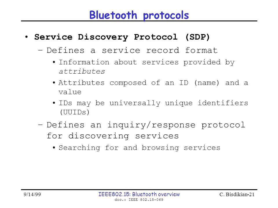 IEEE802.15: Bluetooth overview