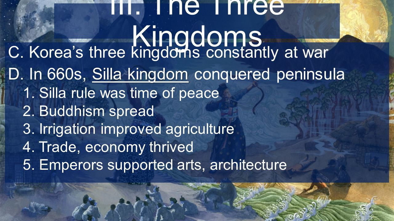 a history of korea the country of three kingdoms 3 analyze the significance of the silk road on korean history and culture 4  3  kingdoms period (the koguryo, the paekche, and silla), the unified silla, the  koryo, and the  japan in order to smooth the relations between both countries.