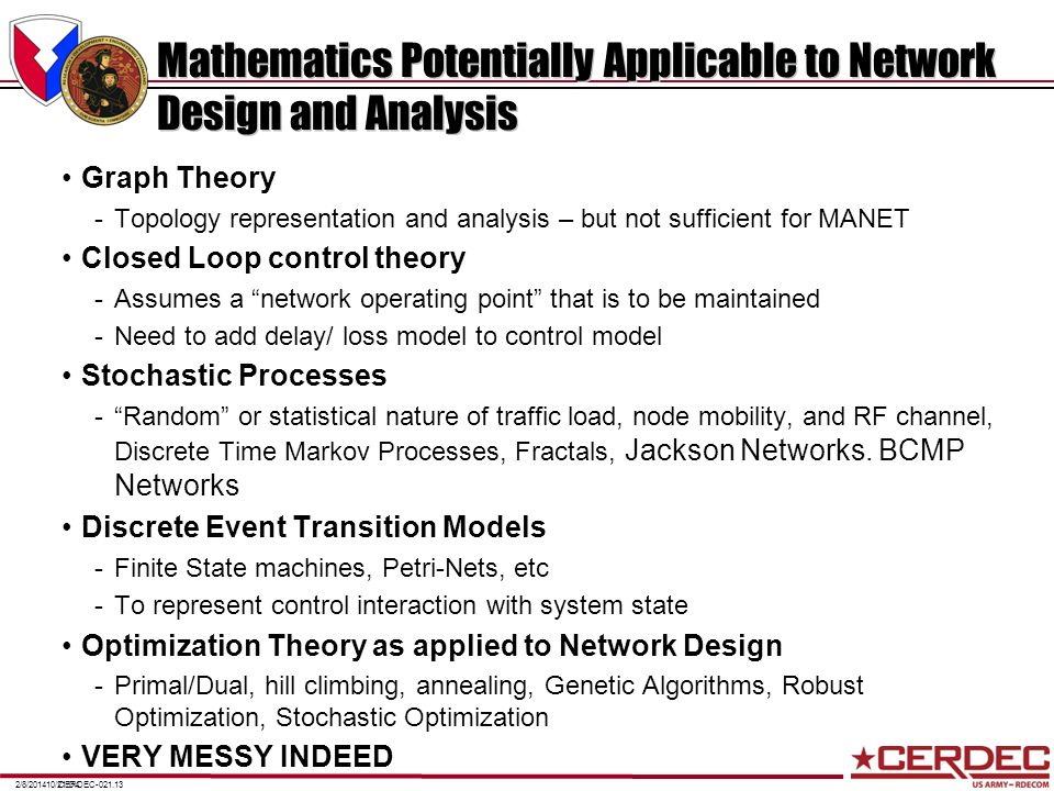 Mathematics Potentially Applicable to Network Design and Analysis