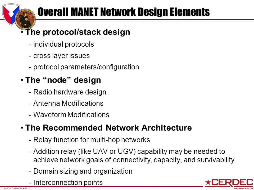 Overall MANET Network Design Elements