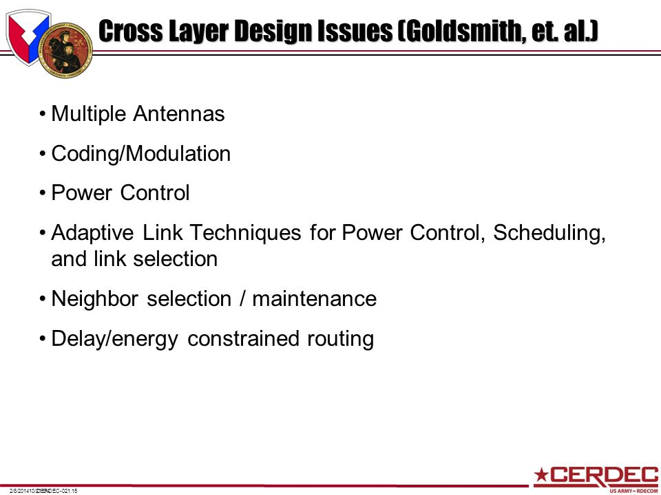 Cross Layer Design Issues (Goldsmith, et. al.)