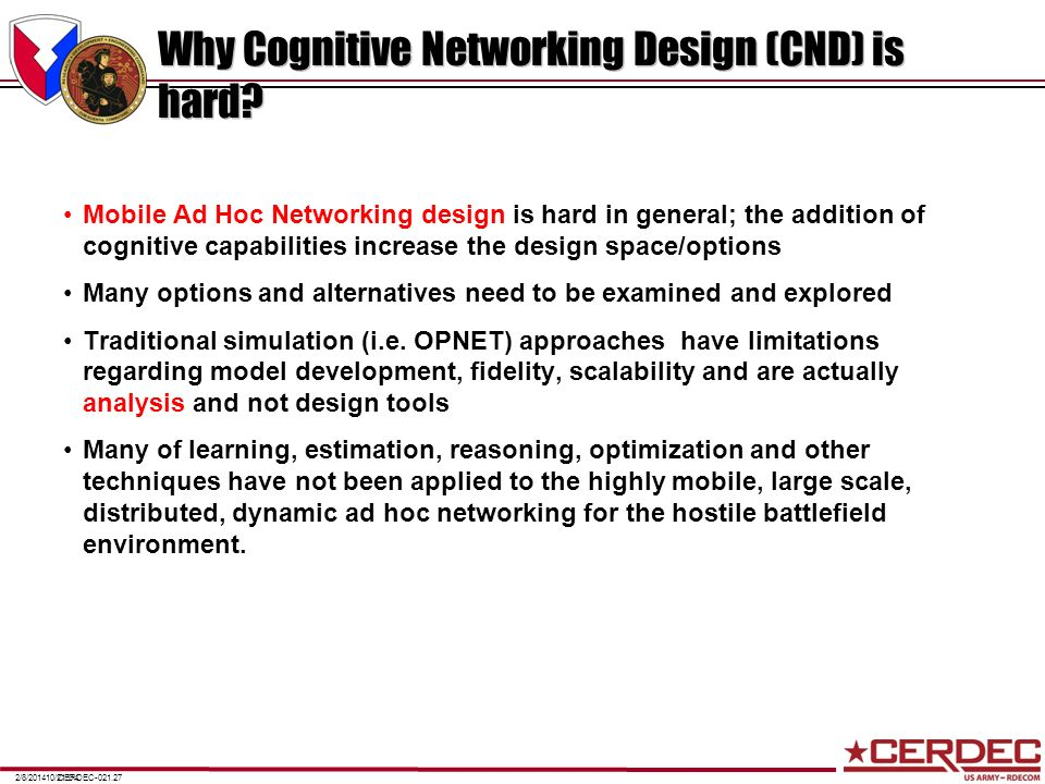 Why Cognitive Networking Design (CND) is hard