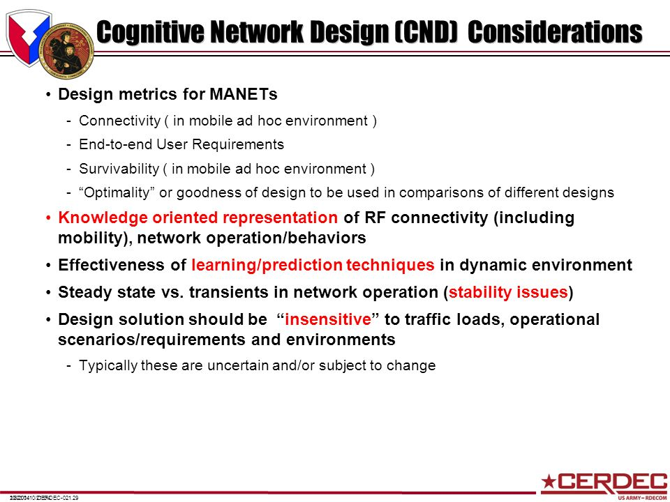 Cognitive Network Design (CND) Considerations