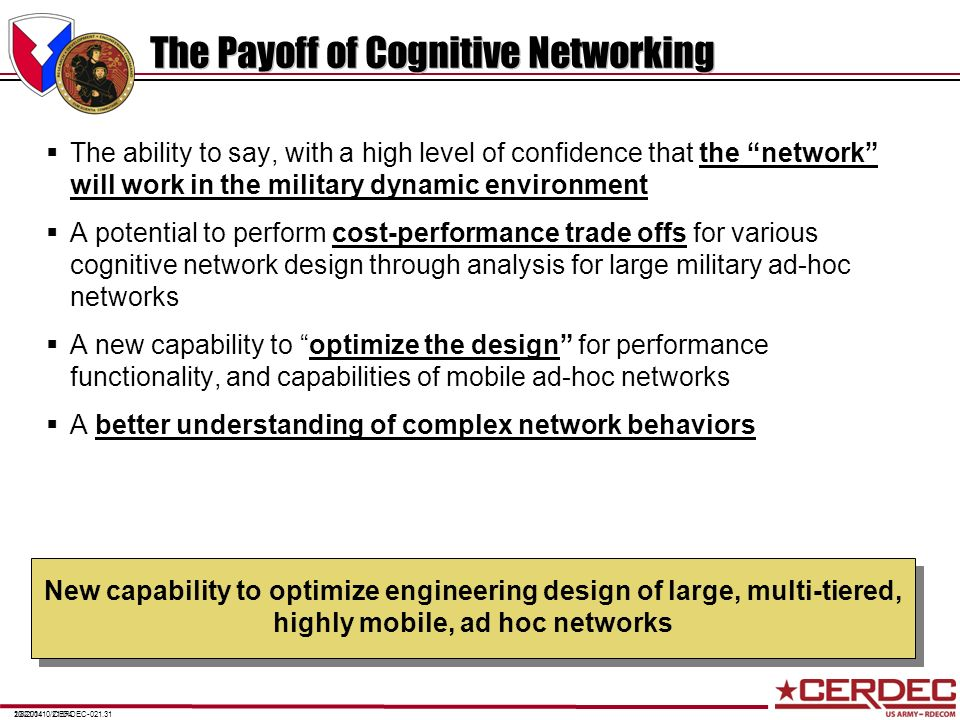 The Payoff of Cognitive Networking