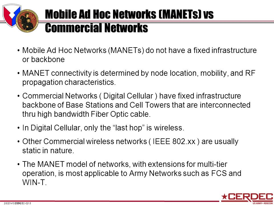 Mobile Ad Hoc Networks (MANETs) vs Commercial Networks