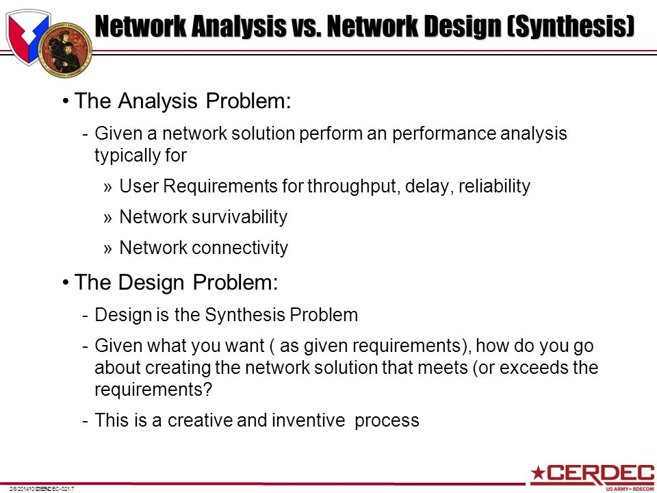 Network Analysis vs. Network Design (Synthesis)