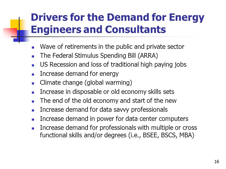 Drivers for the Demand for Energy Engineers and Consultants