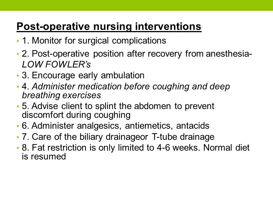 nursing interventions in post operative care
