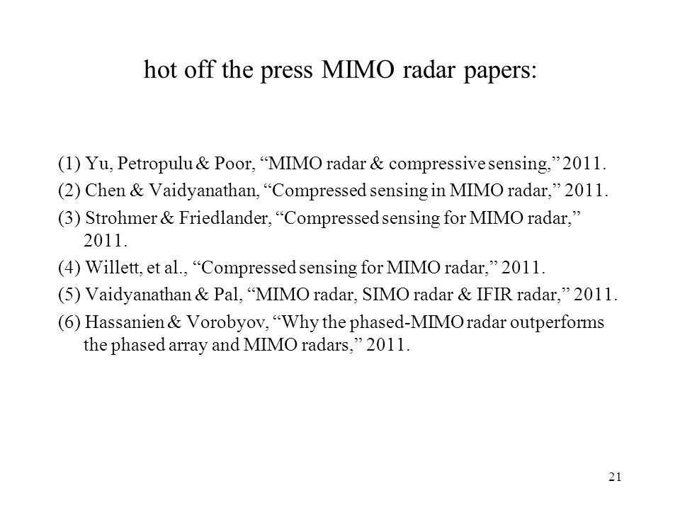 hot off the press MIMO radar papers:
