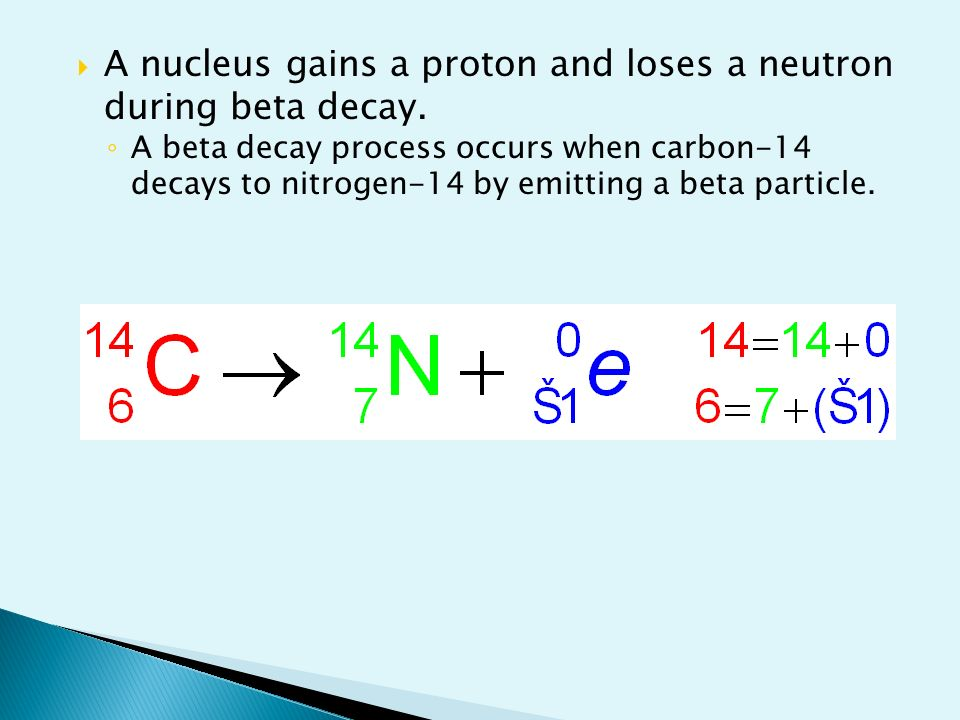 write an equation to represent the beta decay of carbon-14 isotope