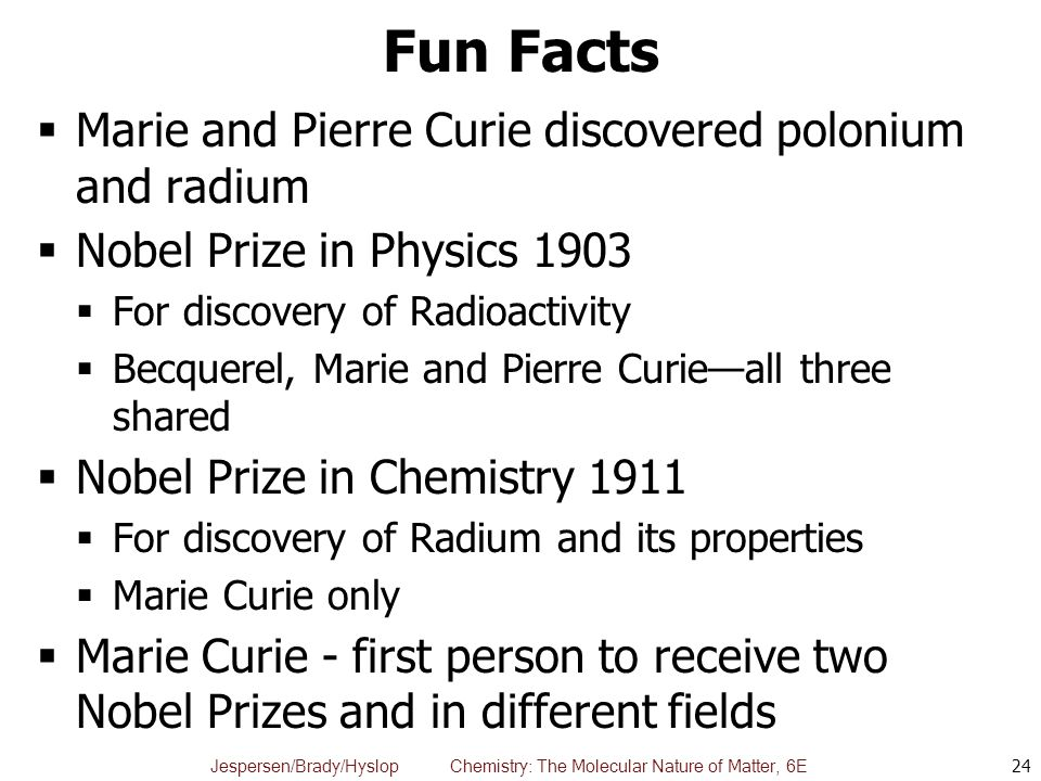 the discovery of polonium and radium by pierre and marie curie Marie curie - questions and  prize in chemistry for her discoveries and studies of the elements radium and polonium  marie and pierre curie and the discovery.
