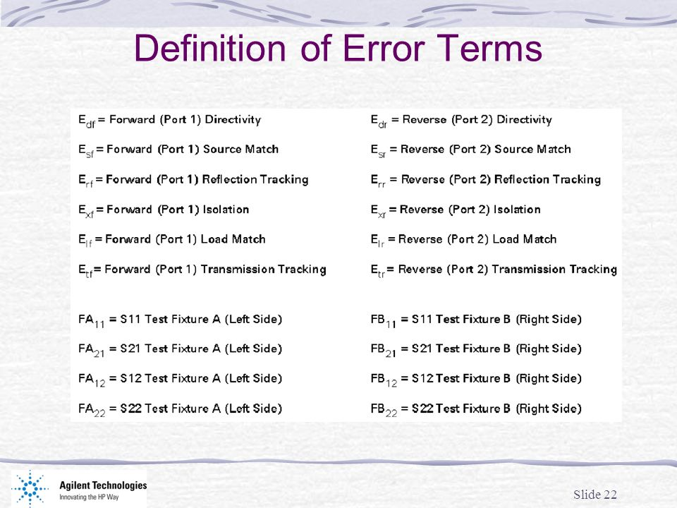 Definition of Error Terms