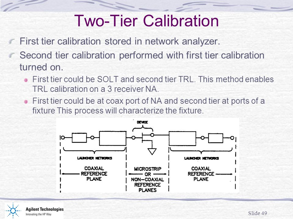 Two-Tier CalibrationFirst tier calibration stored in network analyzer. Second tier calibration performed with first tier calibration turned on.