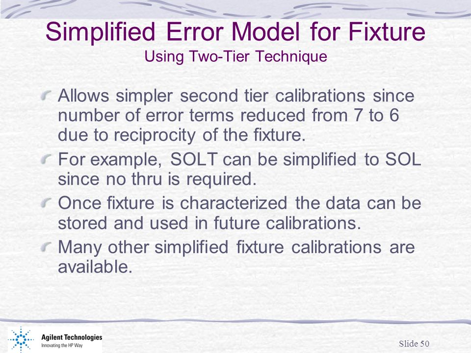 Simplified Error Model for Fixture Using Two-Tier Technique
