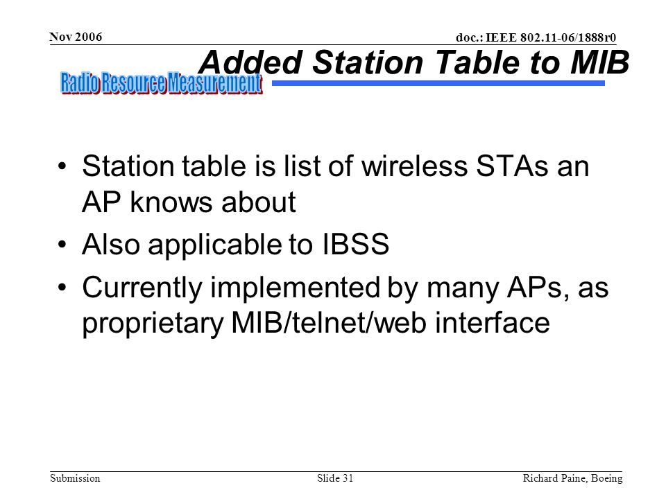 Added Station Table to MIB