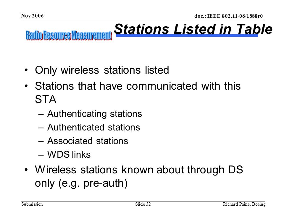 Stations Listed in Table