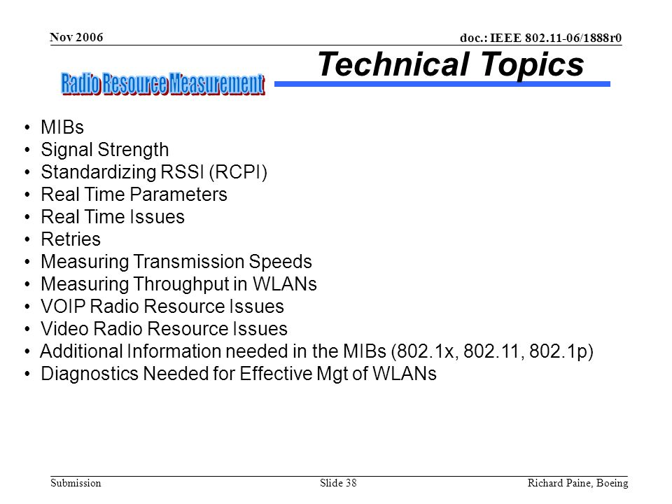 Technical Topics MIBs Signal Strength Standardizing RSSI (RCPI)