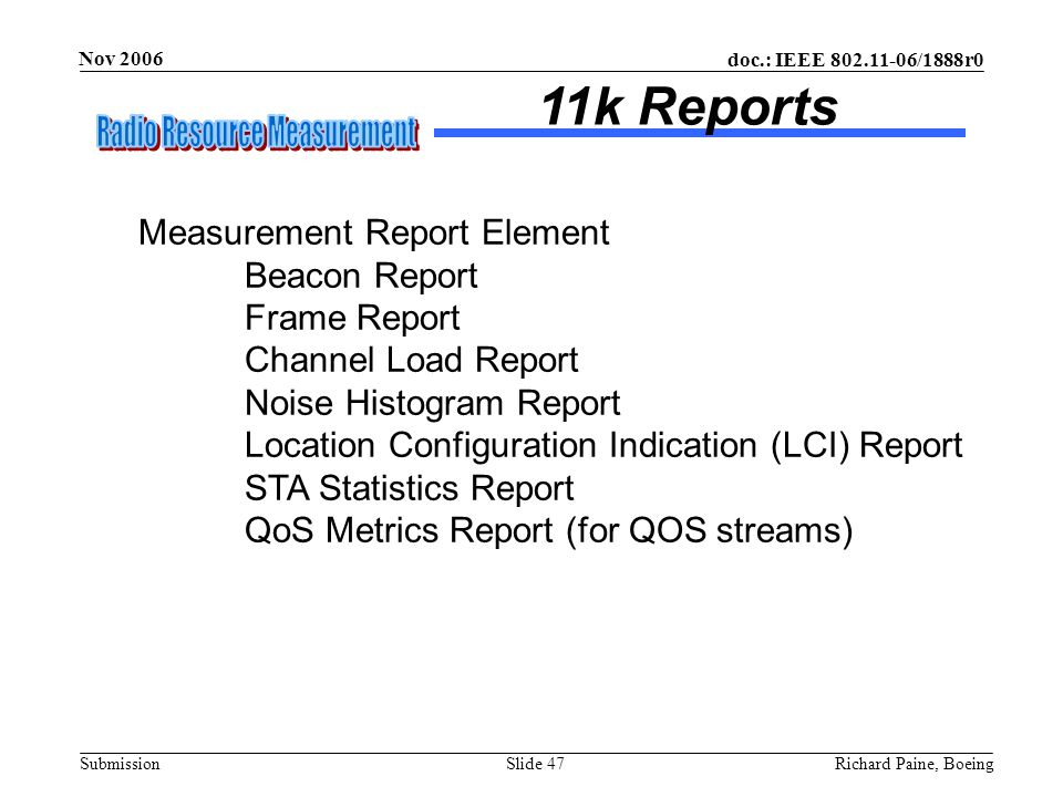 11k Reports Measurement Report Element Beacon Report Frame Report