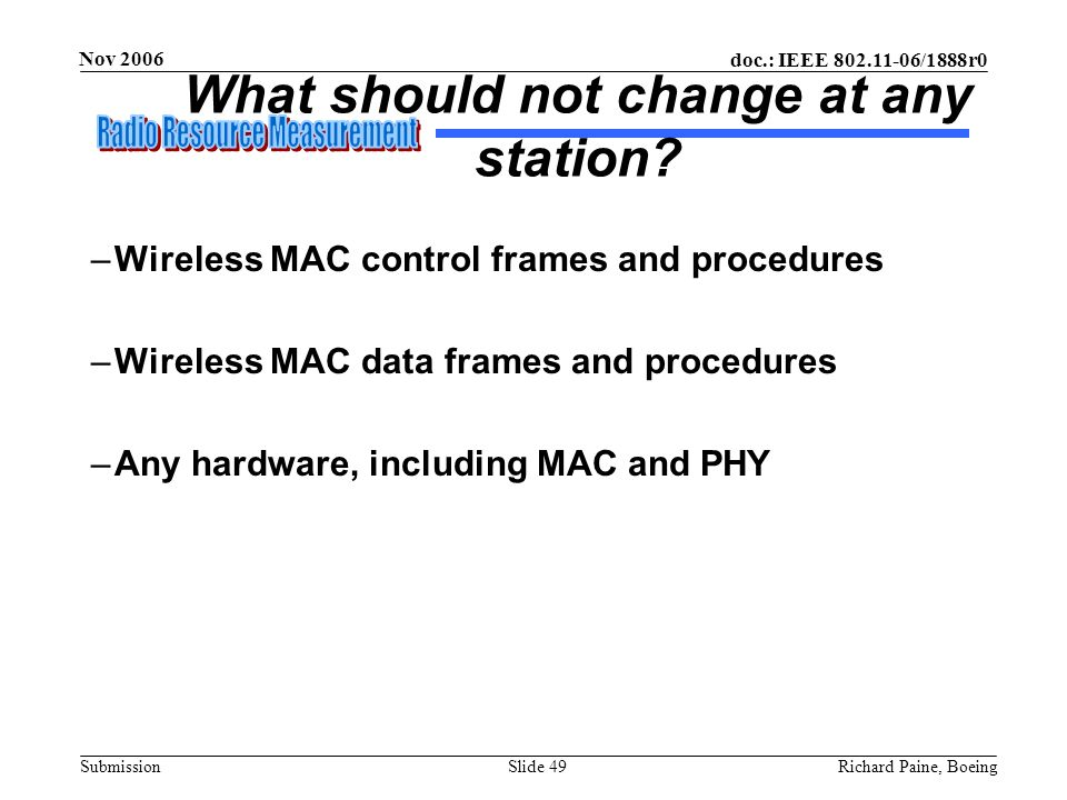 What should not change at any station