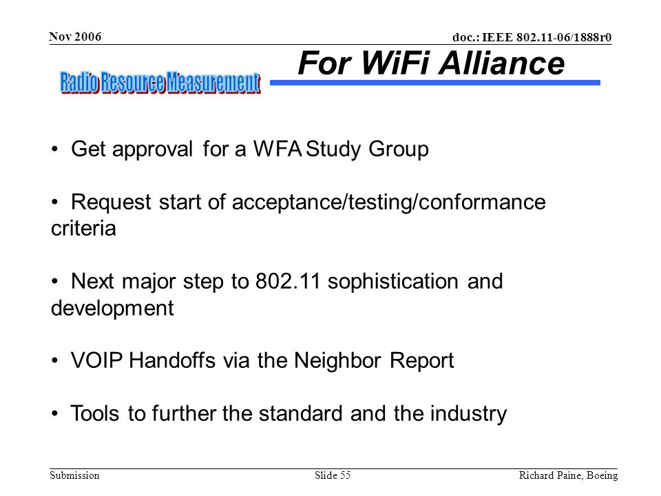 For WiFi Alliance Get approval for a WFA Study Group