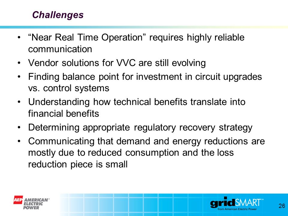 Challenges Near Real Time Operation requires highly reliable communication. Vendor solutions for VVC are still evolving.