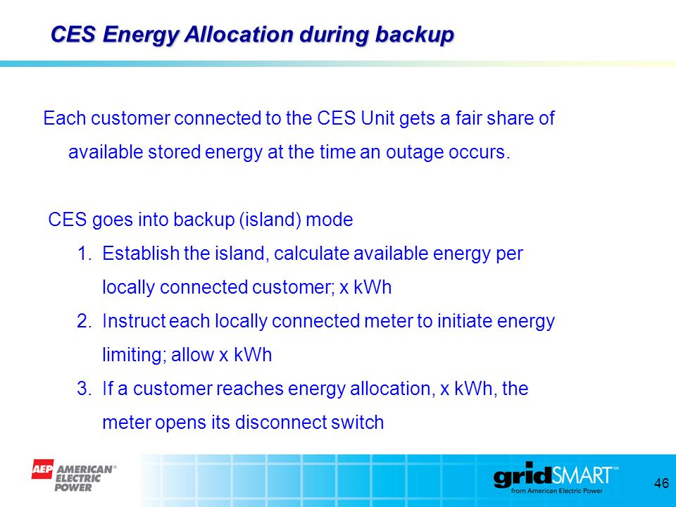 CES Energy Allocation during backup