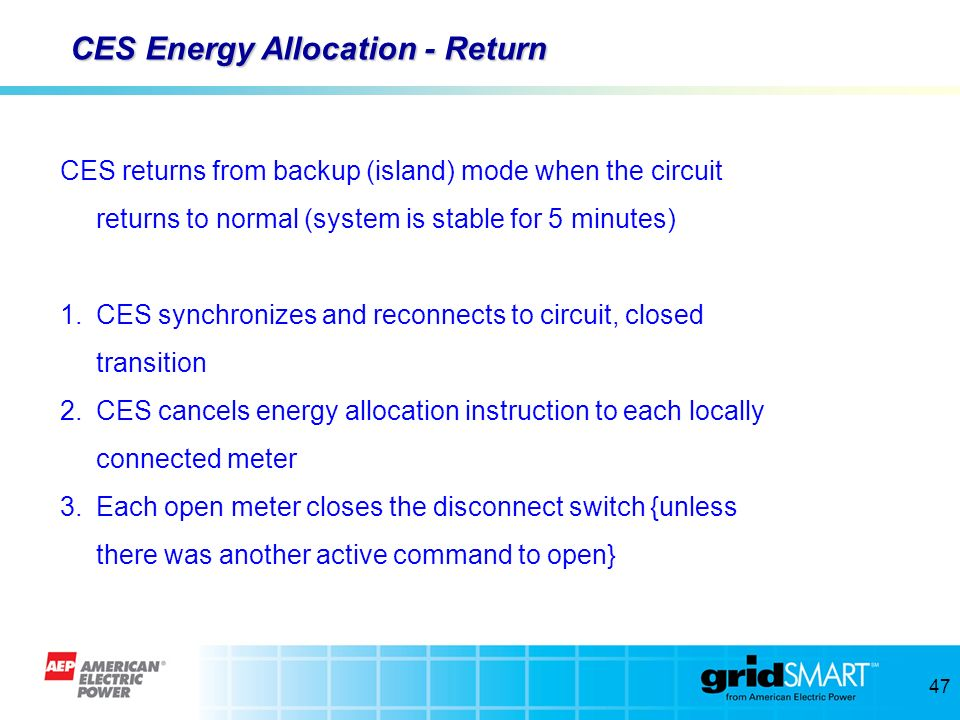 CES Energy Allocation - Return