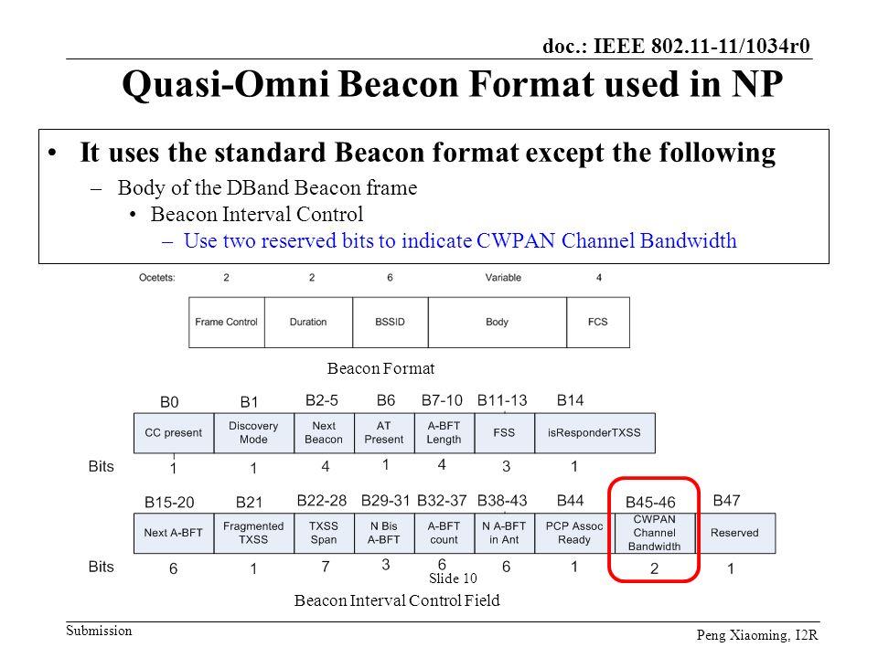 Quasi-Omni Beacon Format used in NP