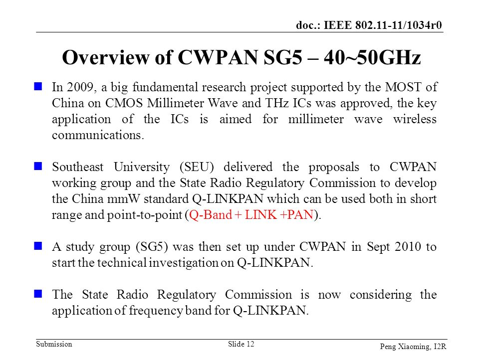Overview of CWPAN SG5 – 40~50GHz