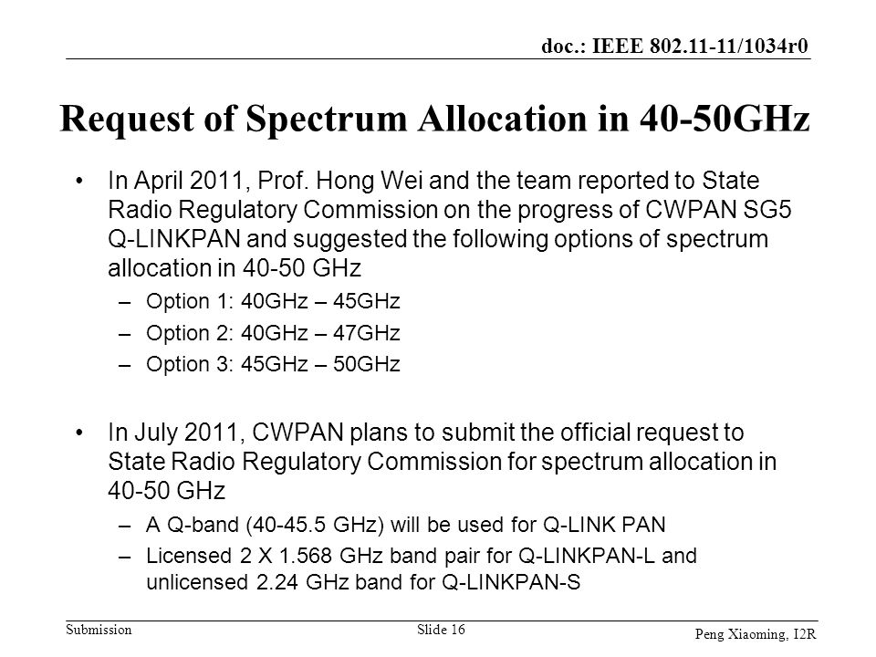 Request of Spectrum Allocation in 40-50GHz