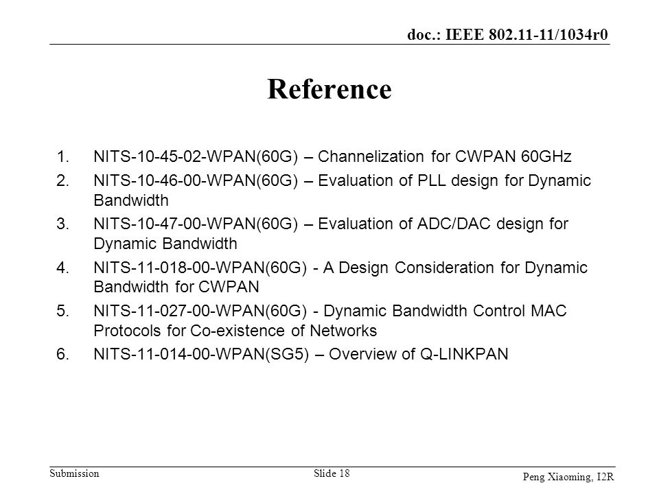 Reference NITS-10-45-02-WPAN(60G) – Channelization for CWPAN 60GHz