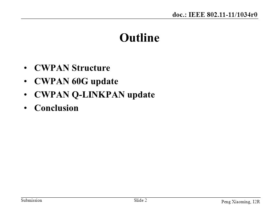 Outline CWPAN Structure CWPAN 60G update CWPAN Q-LINKPAN update