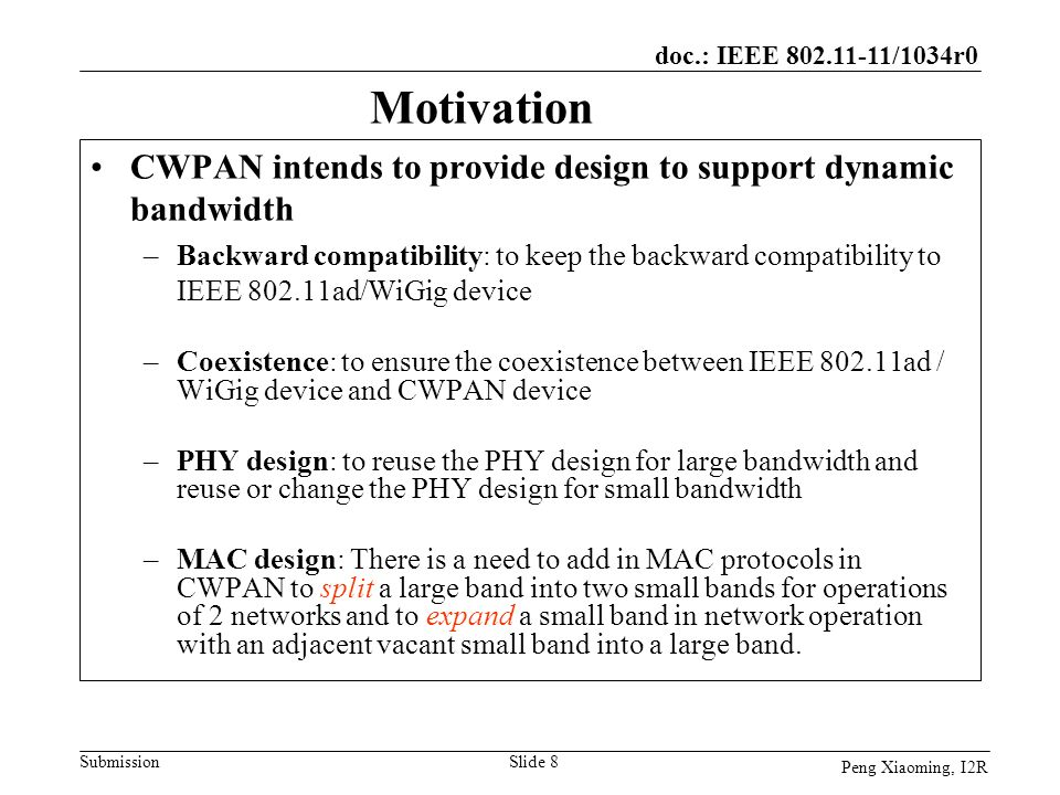 Motivation CWPAN intends to provide design to support dynamic bandwidth.